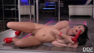 Horny Striptease Dancer Lucy Li Slides Pole between her Big Naked Titties
