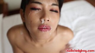 Hello LadyBoy - Skinny Asian FITS Foreign Big Dick in her Tight Ass