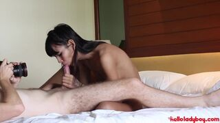 Pretty Thai Ladyboy Sucks Dick with Messy Facial