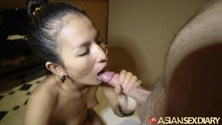 Asian Sex Diary - Tight Asian Gets Pussy Cum Filled by White Guy