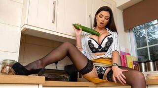 DDF Busty - Gorgeous busty brunette Krystal Webb fucks with a huge cucumber