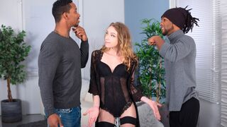 Porn World - Wild Slender French Chick Angel Emily Cucks Her Hubby with 2 BBCs & then He Joins In