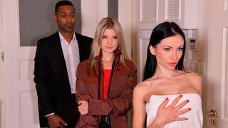 Porn World - Nympho Boss Sasha Rose Gets Served Threesome by Ebony Colleague