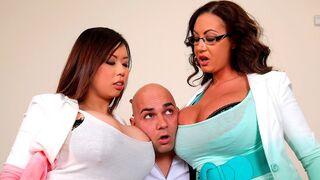 DDF Network - Beautiful FFM threesome with two busty dolls Tigerr Benson and Emma Butt