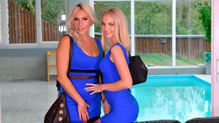DDF Network - Two beautiful blondes Rose and Brittany Bardot fuck with a purple dildo