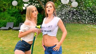 DDF Network - Playful babes Aria Logan and Jenifer Jane are fucking with a blue sex toy