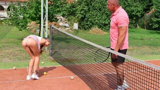 DDF Network - Very skinny young hottie Tiffany Tatum roughly nailed on the tennis court