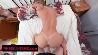 Sis Loves Me - Pretty little Babe Welcums her Big Stepbrother with a Sloppy Blowjob while their Parents are away