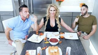Family Strokes - Hot MILF Phoenix Marie Fucks Father & Son for Thanksgiving