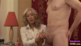 AmateurCFNM - Hot blonde dominates cfnm cock