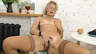 AllOver30 - Mature Blonde MILF Diana V Plays With Her Hairy Pussy