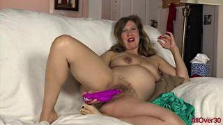 AllOver30 - Preggo MILF Valentine Riding her Toy