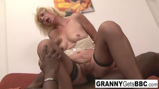 Granny Gets BBC - Dirty Blonde Mature gets her Ass Filled with Black Cock