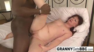 Granny Gets BBC - Euro Granny Redhead Teases the Camera and the Big Black Cock