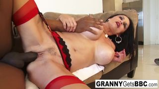 Granny Gets BBC - Busty Brunette Granny Takes the Black Cock in her Wet Pussy
