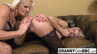 Granny Gets BBC - Two Mature Blondes have an Interracial Anal Foursome
