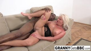 Granny Gets BBC - Blonde Mature Opens her Ass with a Toy and a BBC
